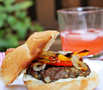 Italian burgers with peppers and onions