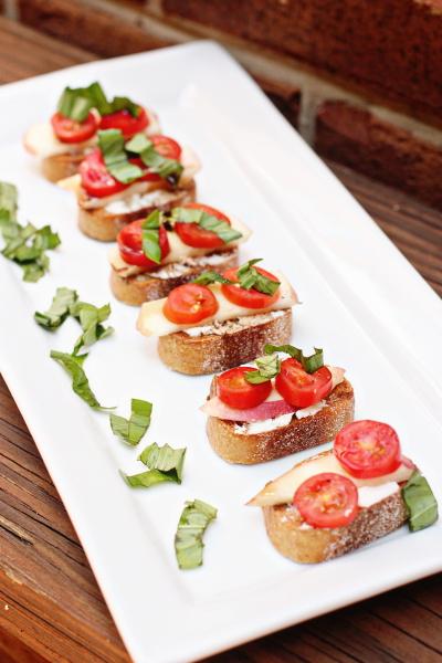 Nectarine, Tomato and Goat Cheese Crostini