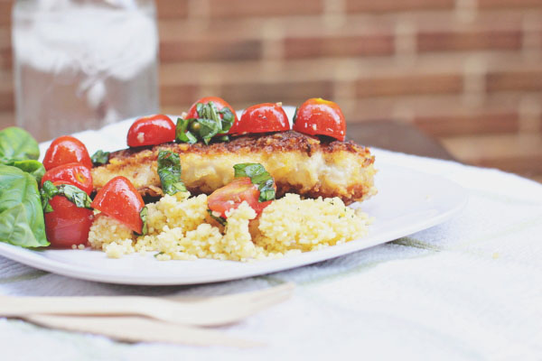 Parmesan Chicken with Cherry Tomato Salad