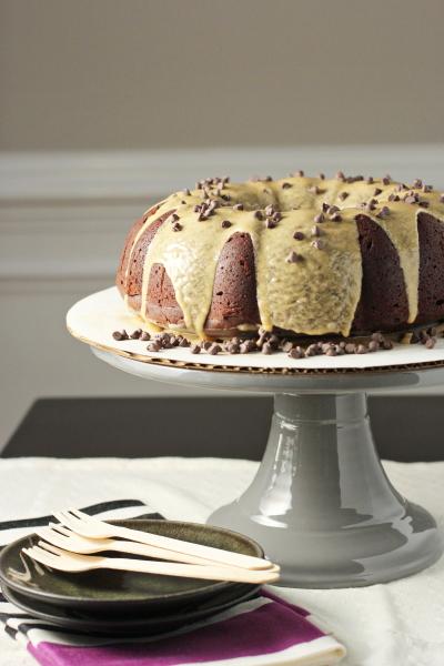 Double Chocolate Bundt Cake with Biscoff Glaze