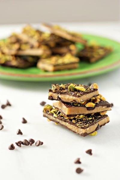 Dark chocolate pistachio toffee