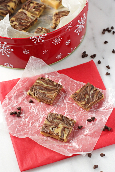 Peanut butter fudge with chocolate swirl