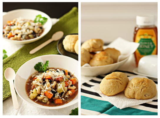 minestrone soup and honey yeast rolls