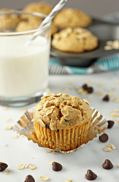 Peanut butter oatmeal chocolate chip muffins