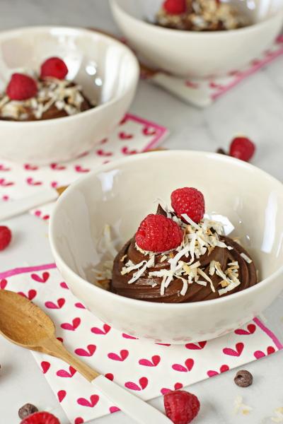 Chocolate avocado coconut mousse