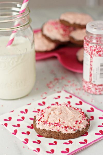 Soft chocolate sugar cookies with strawberry frosting