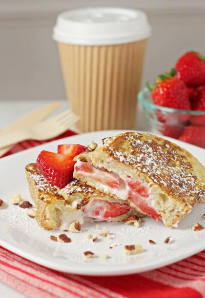 Strawberry hazelnut stuffed french toast
