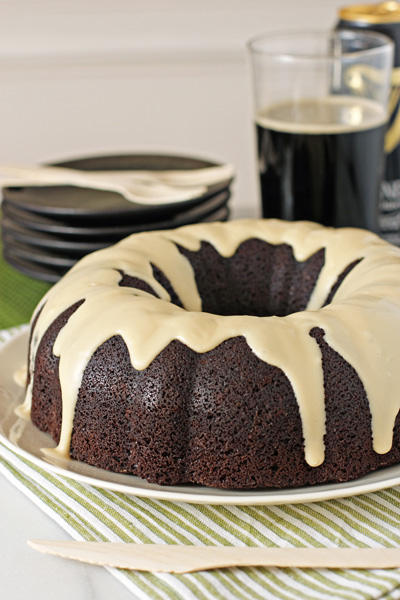 Chocolate stout cake with cream cheese glaze