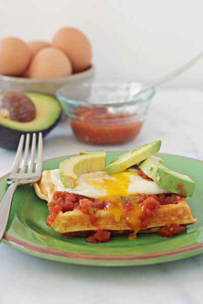 Overnight cornmeal waffles with eggs and salsa