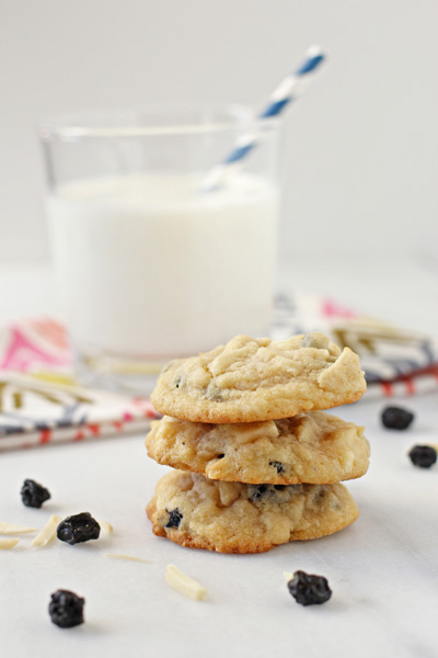Blueberry, almond and white chocolate cookies