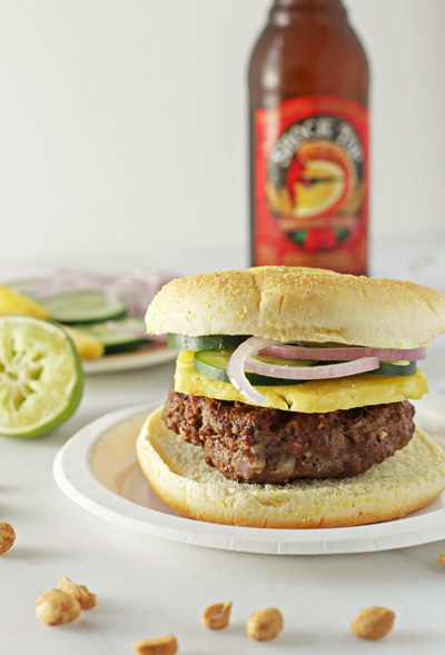 Burgers with Peanut Sauce, Pineapple and Red Onion | Cookie Monster Cooking