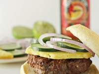 Burgers with Peanut Sauce, Pineapple and Red Onion