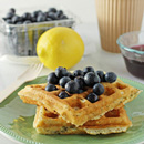 Lemon Poppy Seed Waffles with Blueberry Maple Syrup