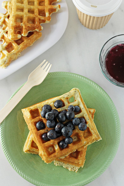 Lemon Poppy Seed Waffles with Blueberry Maple Syrup | Cookie Monster Cooking