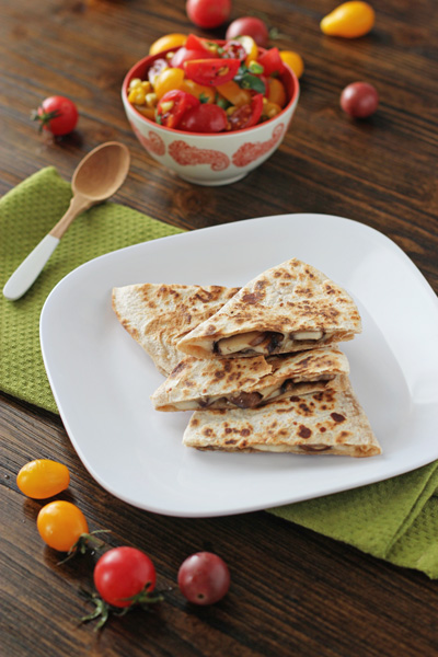 Mushroom Quesadillas with Tomato and Corn Salsa | Cookie Monster Cooking