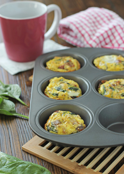 Spinach and Sun-Dried Tomato Frittata Muffins | Cookie Monster Cooking