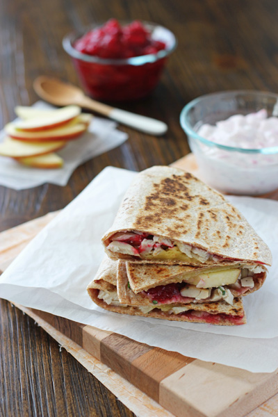 Turkey, Cranberry and Apple Quesadillas - Cookie Monster Cooking