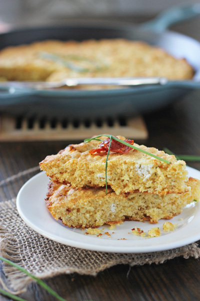 Skillet Cornbread with Goat Cheese and Sun-Dried Tomatoes | Cookie Monster Cooking