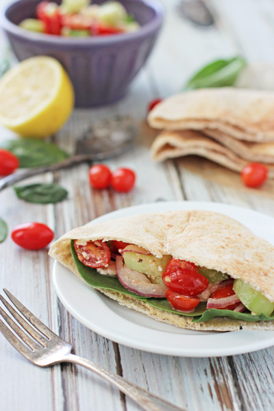 Greek Pita Pockets with Hummus | cookiemonstercooking.com