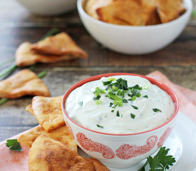 Spiced Pita Chips with Whipped Herb Goat Cheese | cookiemonstercooking.com