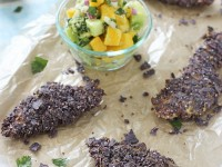 Baked Tortilla Crusted Chicken Tenders with Mango Salsa | cookiemonstercooking.com