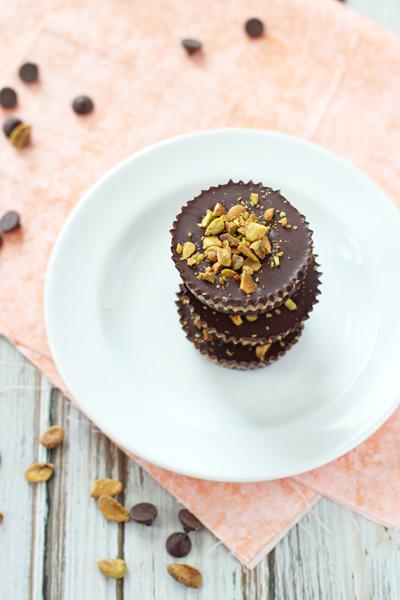 Dark Chocolate and Pistachio Almond Butter Cups | cookiemonstercooking.com
