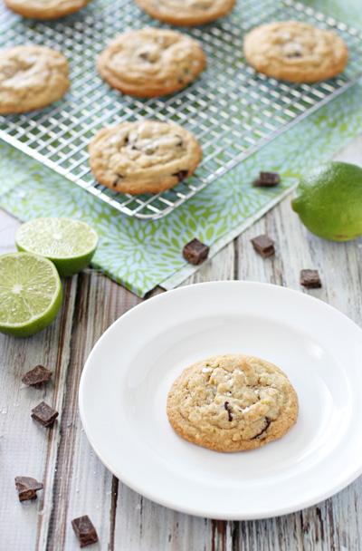 Lime and Dark Chocolate Chunk Cookies | cookiemonstercooking.com
