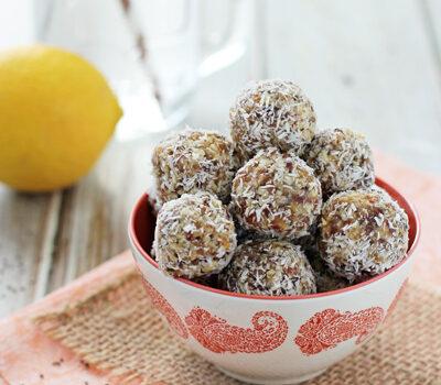 Lemon Coconut Chia Seed Energy Bites | cookiemonstercooking.com