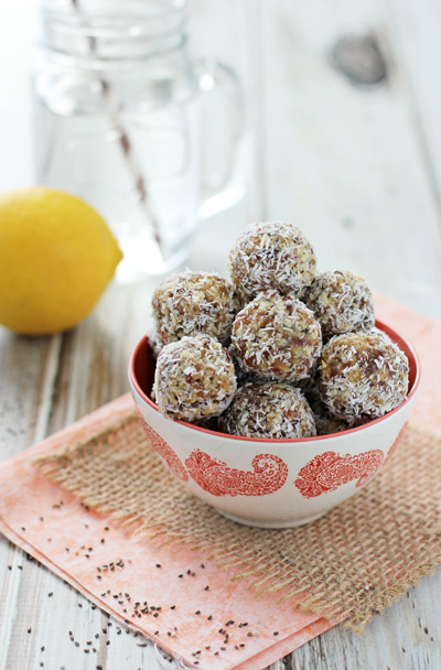 Lemon Coconut Chia Seed Energy Bites | cookiemonstercooking.com