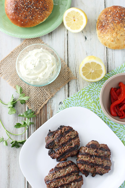 Mediterranean Burgers with Whipped Feta | cookiemonstercooking.com