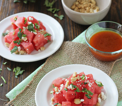 Watermelon Salad with Sriracha Vinaigrette | cookiemonstercooking.com