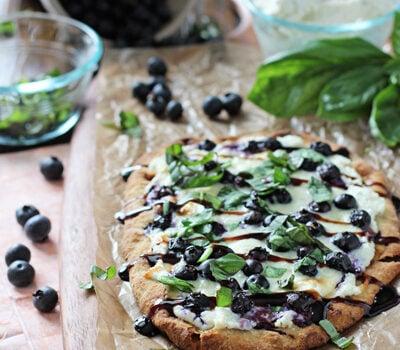 Blueberry Basil Ricotta Flatbreads | cookiemonstercooking.com