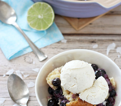 Blueberry Lime Coconut Cobbler | cookiemonstercooking.com