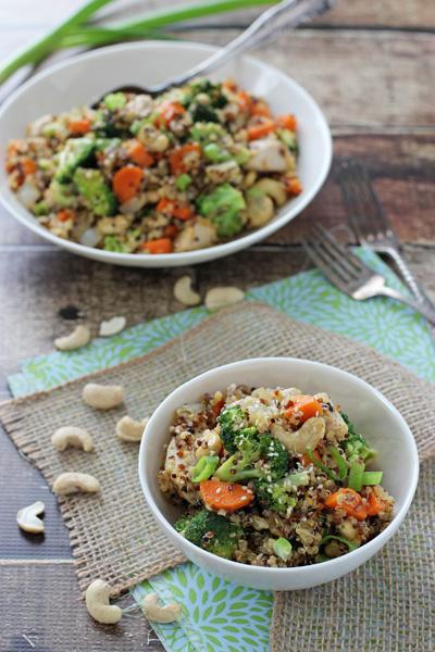 Citrusy Quinoa Cashew Chicken and Broccoli | cookiemonstercooking.com