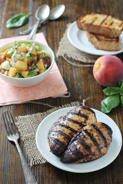 Grilled Balsamic Chicken with Peach Salsa and Chipotle Bread | cookiemonstercooking.com