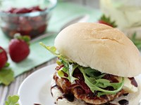 Turkey Burgers with Brie and Roasted Strawberries | cookiemonstercooking.com