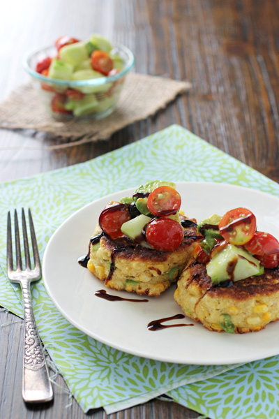Corn Fritters with Tomato Avocado Salsa | cookiemonstercooking.com