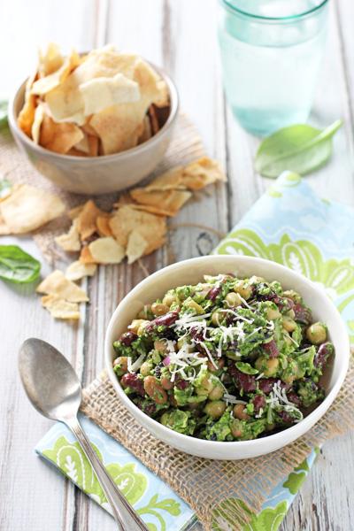 Pesto Bean Salad with Almonds and Cranberries   cookiemonstercooking.com