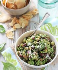 Pesto Bean Salad with Almonds and Cranberries | cookiemonstercooking.com
