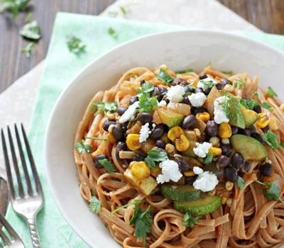 Vegetable and Black Bean Enchilada Pasta | cookiemonstercooking.com