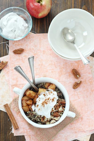 Apple Cinnamon Quinoa Breakfast Bowl | cookiemonstercooking.com