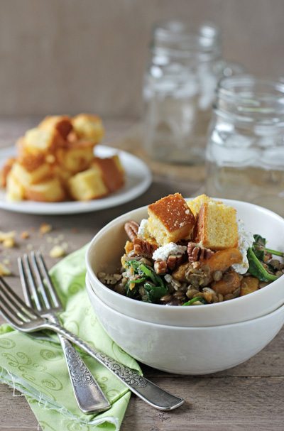Fall Lentil Salad with Butternut Squash and Goat Cheese | cookiemonstercooking.com
