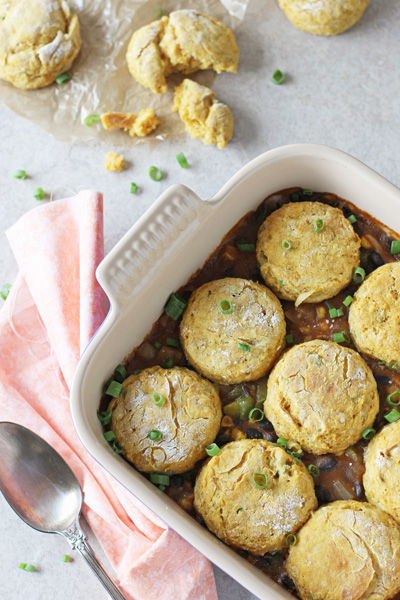 Mexican Pot Pie with Sweet Potato Biscuits | cookiemonstercooking.com