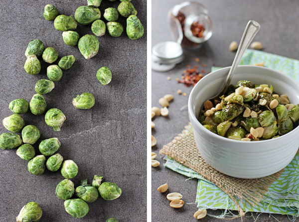 Honey Roasted Brussels Sprouts with Peanuts | cookiemonstercooking.com