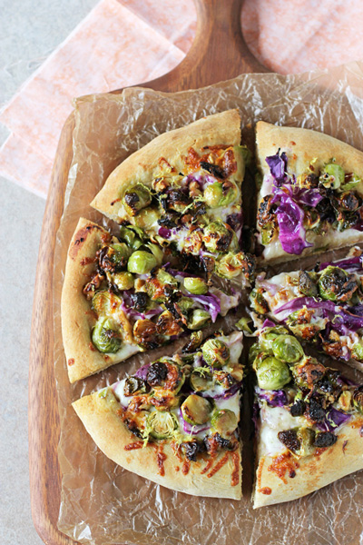 Roasted Brussels Sprouts and Red Cabbage Pizza