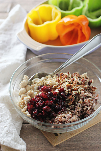 Turkey, Wild Rice and Cranberry Stuffed Peppers | cookiemonstercooking.com