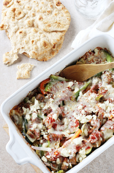 Mediterranean Chicken Sausage and Veggie Bake | cookiemonstercooking.com