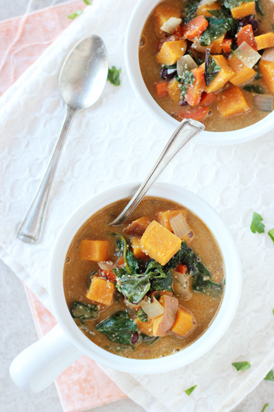 Creamy Sweet Potato and Swiss Chard Soup | cookiemonstercooking.com