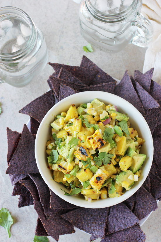 Recipe for grilled corn and pineapple salsa. A simple, sweet and savory salsa perfect for snacking, on tacos, or however you like!