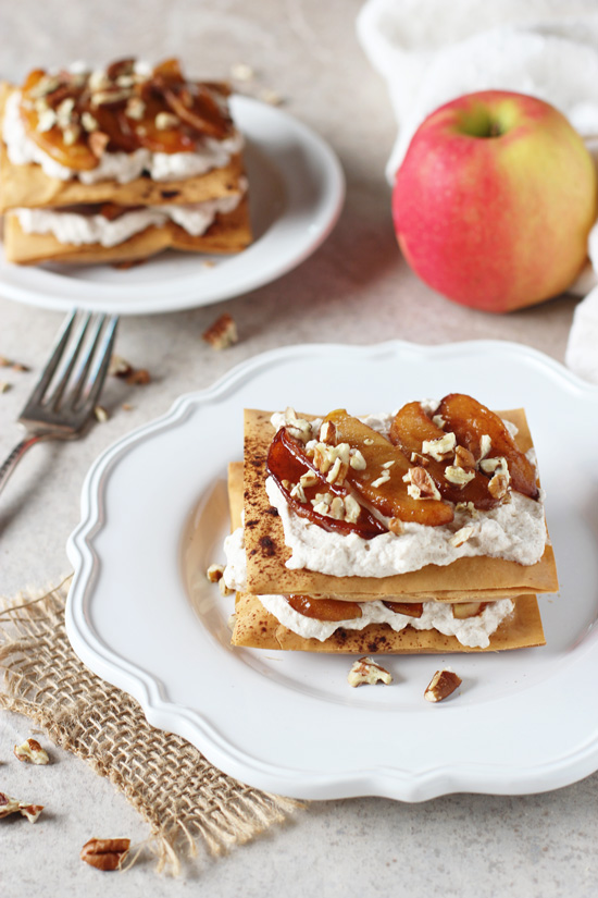Recipe for apple cinnamon phyllo pastries. Stacks of crispy phyllo, caramelized apples and cinnamon whipped cream!